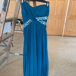 Teal Strapless Prom Dress